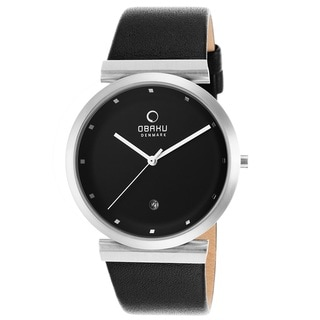 Obaku Men's V137UCBRB 'Harmony' Black Leather Watch