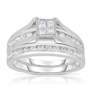 14k White Gold 1ct TDW Princess-cut Composite Bridal Ring Set (H-I, SI2-I1)