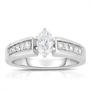 14k White Gold 3/4ct TDW Oval-cut Solitaire Diamond Engagement Ring (I-J, I1-I2)