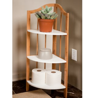 Bamboo Corner Utility Shelf Unit with White Accents