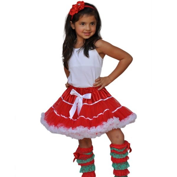 Girls' Stylish Red Ruffle Skirt