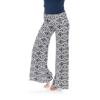 White Mark Women's Diamond Maze Palazzo Pants