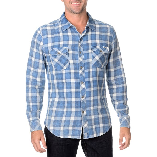 Seven7 Men's Blue and Indigo Plaid Button-down Shirt