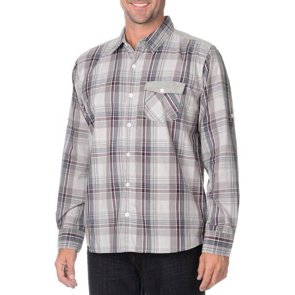 Seven7 Men's Ash Plaid Knit-shoulder Button-down Shirt