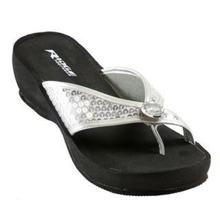 Ridge Outdoors Silver Sequin Wedge Sandals