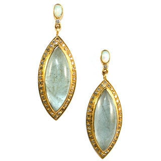 14k Yellow Gold 4/5ct TDW Diamond and Aquamarine Earrings (D-E, VVS1-VVS2)