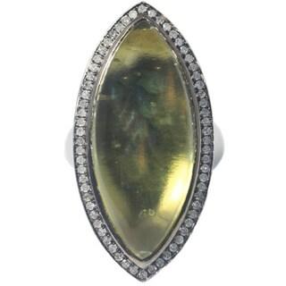 Sterling Silver Lemon Quartz and Diamond Cocktail Ring