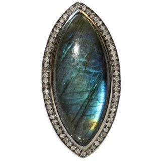 Sterling Silver 2/5ct TDW Diamond Labradorite Cocktail Ring (D-E, VVS1-VVS2)