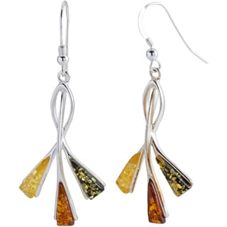 Kele & Co's 'The Willows' 925 Sterling Silver Multi-amber Earrings