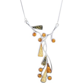 Kele& Co 925 Sterling Silver Stunning Multi-amber Necklace