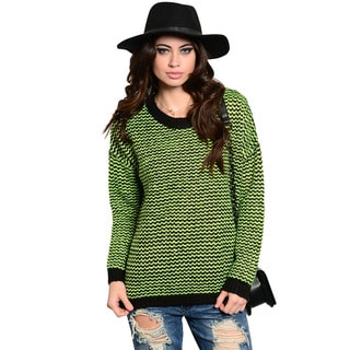 Feellib Women's Brightly Striped Long Sleeve Knit Sweater