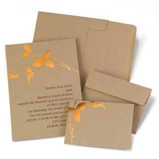 Kraft Copper Branches DIY Invitation Kit