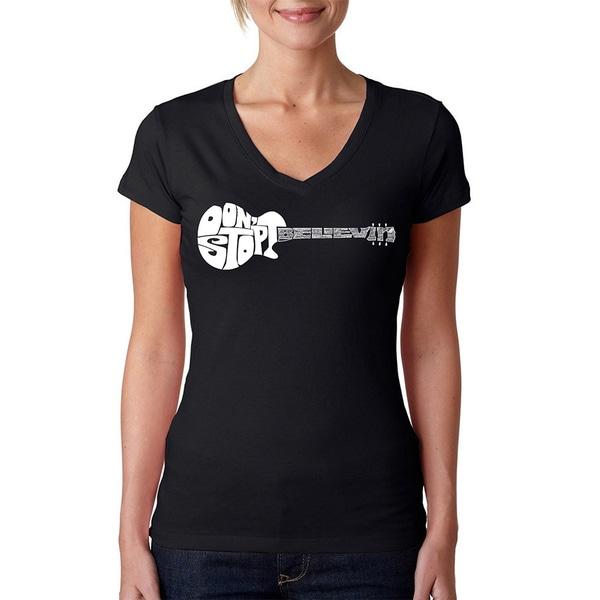 LA Pop Art Women's Don't Stop Believin V-Neck T-Shirt