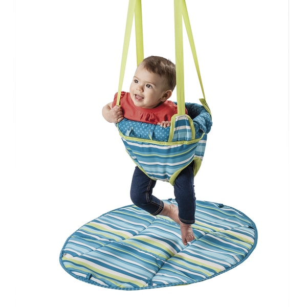 Evenflo ExerSaucer Door Jumper 2 in 1 in Teal Stripes