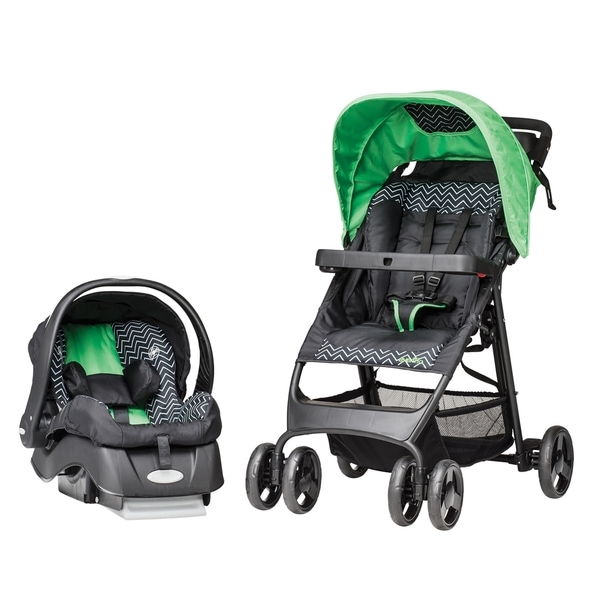 Evenflo FlexLite Travel System with Embrace in Green Chevron