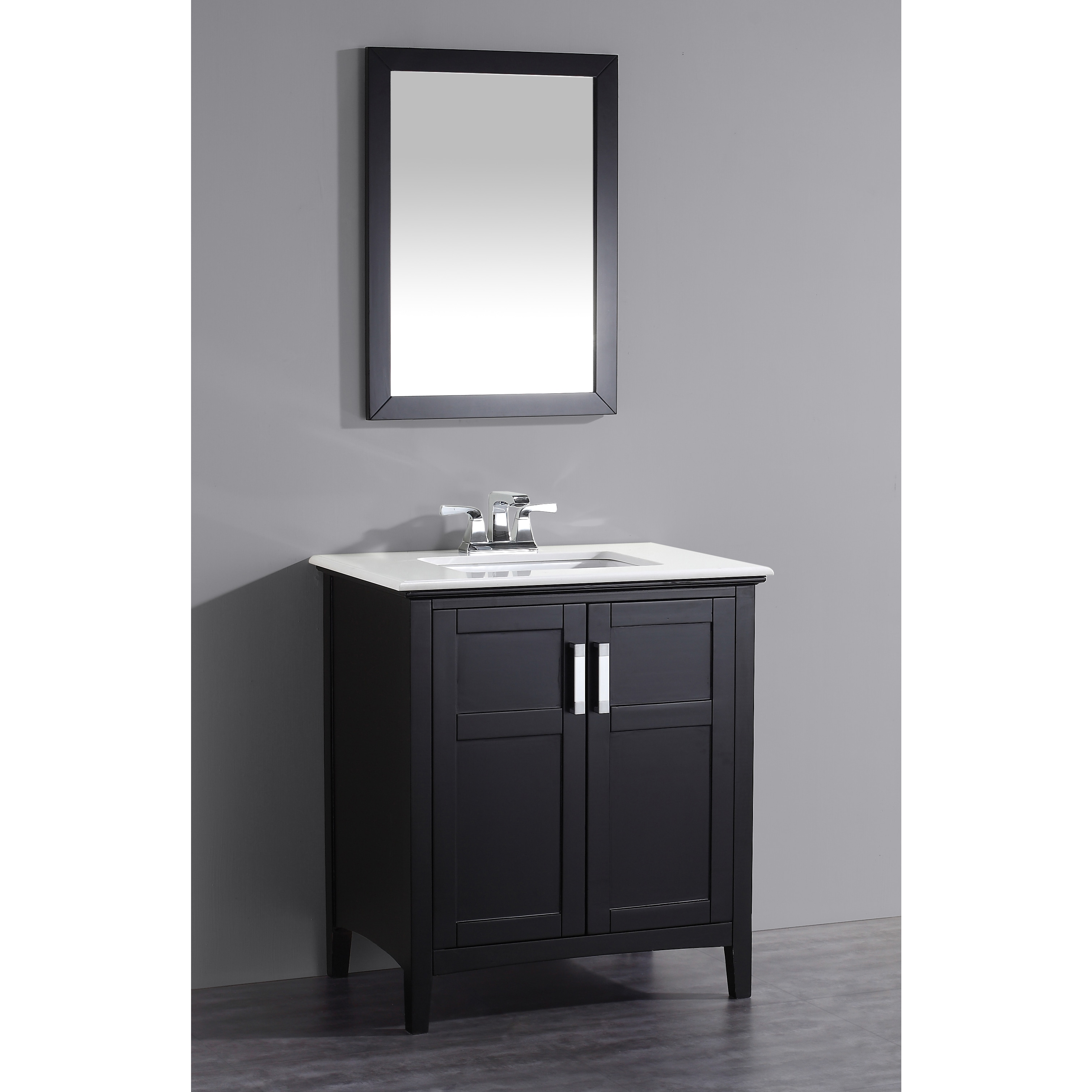 Wyndenhall salem black 30 inch bath vanity with 2 doors and white