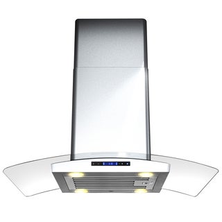 AKDY 30-inch OSIRHD01IS-30R-AK Stainless Steel Curved Glass Island Mount Range Hood