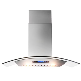 36-inch OSWRHD05-36-AK Curved Glass Digital Touch Display Stainless Steel Wall Mount Range Hood