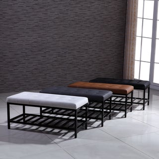 Signature Designs Modern Metal Tufted Ottoman Bench