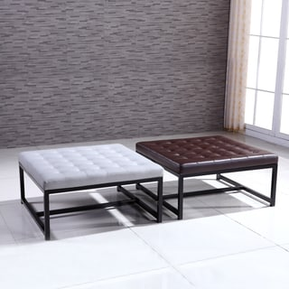 Signature Designs Modern Metal Tufted Storage Ottoman Bench