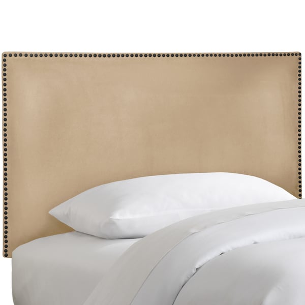 Made to Order Oatmeal Nail Button Bordered Headboard