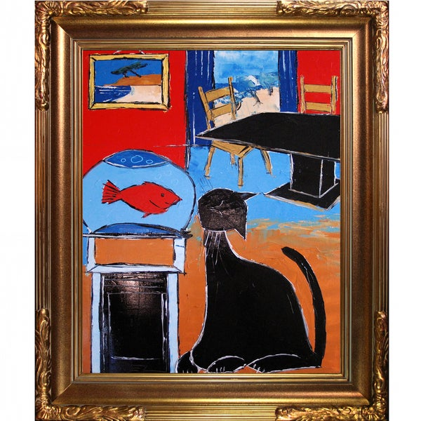 Atelier De Jiel 'Black cat with goldfish' Framed Fine Art Print