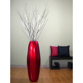 36-inch Red Lacquer Cylinder Vase with Branches