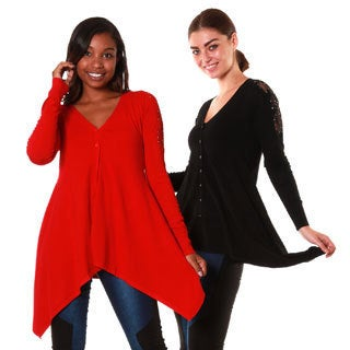 Hadari's Women's Set of Two Laced Studded Shoulder Cardigan