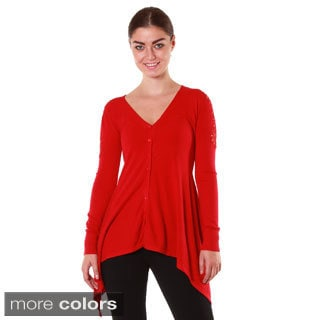 Hadari's Women's Laced Studded Shoulders Cardigan