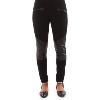 Hadari Women's Casual Leather Knee Panel Skinny Pants
