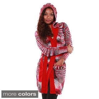 Hadari Women's Multi-Knitted Hooded Cardigan