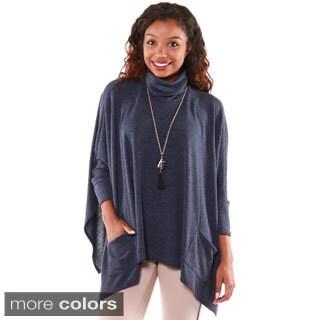 Hadari Womens Long Sleeve Turtle Neck Pancho Sweater