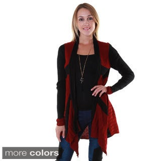 Hadari Women's Rib Knit Two-Tone Cardigan