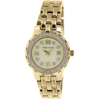Anne Klein Women's AK-1508CMGB Gold Stainless-Steel Quartz Watch with Beige Dial