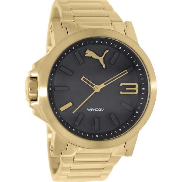 Puma Men's Ultrasize PU103462002 Gold Stainless-Steel Analog Quartz Watch with Black Dial