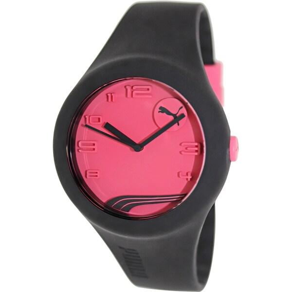 Puma Women's Form PU103001012 Black Rubber Analog Quartz Watch with Pink Dial