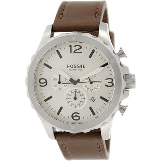 Fossil Men's Nate JR1473 Brown Leather Quartz Watch with Silver Dial