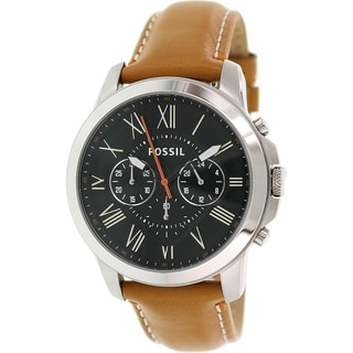 Fossil Men's Grant FS4918 Brown Leather Quartz Watch with Green Dial