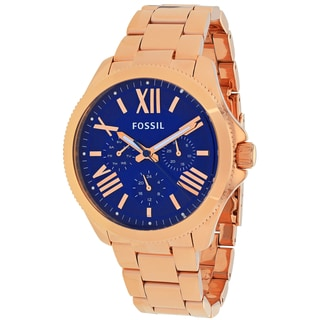 Fossil Women's Cecile AM4566 Rose goldtone stainless steel Quartz Watch with Blue Dial