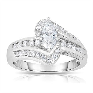14k White Gold 1ct TDW Marquise Cut Solitaire Diamond Engagement Ring (H-I, I1-I2)