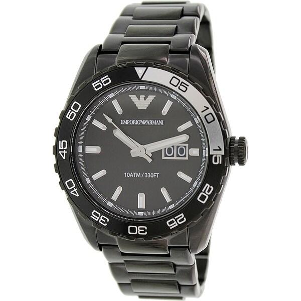 Emporio Armani Men's Sportivo AR6049 Black Stainless-Steel Analog Quartz Watch with Black Dial