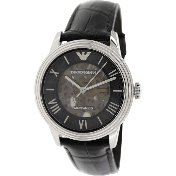 Emporio Armani Men's Meccanico AR4669 Black Leather Automatic Watch with Silver Dial