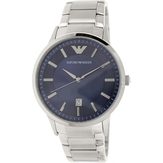 Emporio Armani Men's Classic AR2477 Silver Stainless-Steel Analog Quartz Watch with Blue Dial