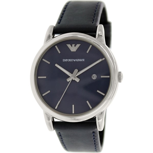Emporio Armani Men's Classic AR1731 Blue Leather Analog Quartz Watch with Blue Dial