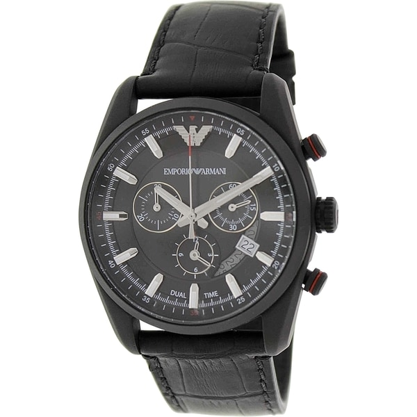 Emporio Armani Men's Sportivo AR6035 Black Leather Analog Quartz Watch with Black Dial