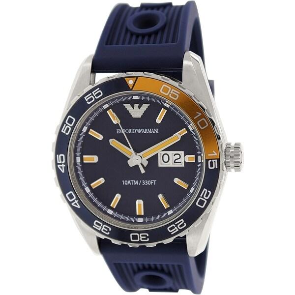 Emporio Armani Men's Sportivo AR6045 Blue Rubber Analog Quartz Watch with Blue Dial