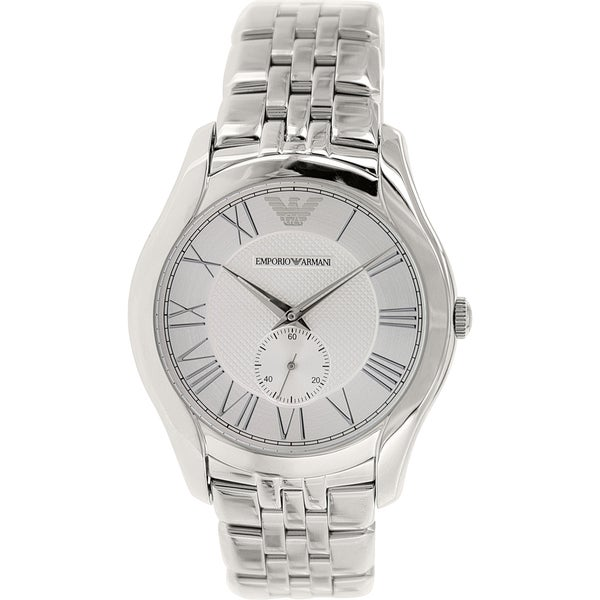 Emporio Armani Men's Classic AR1788 Silver Stainless-Steel Analog Quartz Watch with Silver Dial