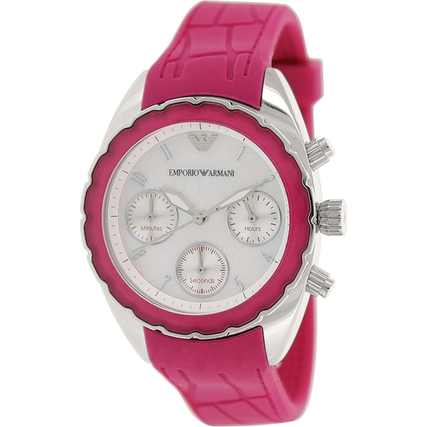 Emporio Armani Women's Sportivo AR5937 Pink Rubber Quartz Watch with White Dial