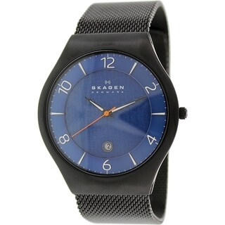 Skagen Men's SKW6147 Black Stainless-Steel Quartz Watch with Blue Dial