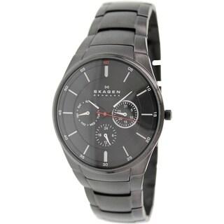 Skagen Men's Aabye SKW6055 Black Stainless-Steel Quartz Watch with Black Dial
